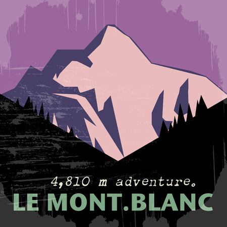 Abstract background with the Mont Blanc, highest mountain in the Alps Vector