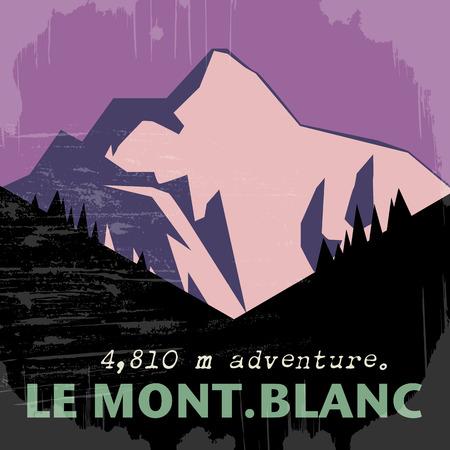 Zusammenfassung Hintergrund mit dem Mont Blanc, dem höchsten Berg in den Alpen