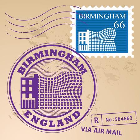 birmingham: Grunge rubber stamp set with text Birmingham, England inside
