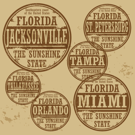 orlando: Grunge rubber stamp set with names of Florida cities