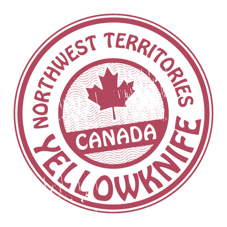 canada stamp: Stamp with name of Canada, Northwest territories and Yellowknife Illustration