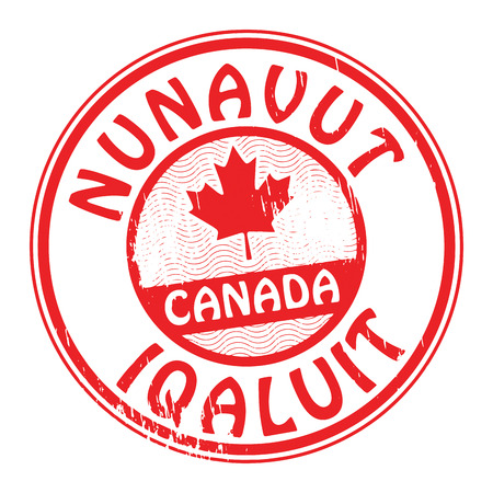 Stamp with name of Canada, Nunavut and Iqaluit Vector