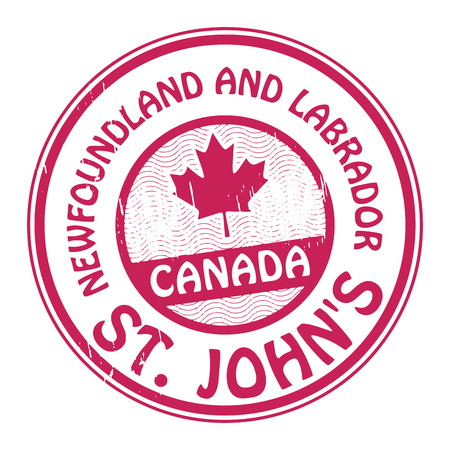 Stamp with name of Canada, Newfoundland and Labrador and St  Johns Vector