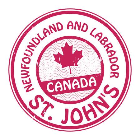 terranova: Timbro con il nome del Canada, Terranova e Labrador e St Johns Vettoriali