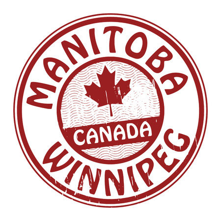 canada stamp: Stamp with name of Canada, Manitoba and Winnipeg Illustration
