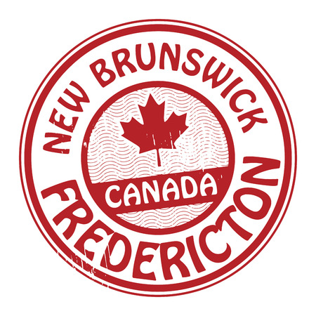 canada stamp: Stamp with name of Canada, New Brunswick and Fredericton Illustration