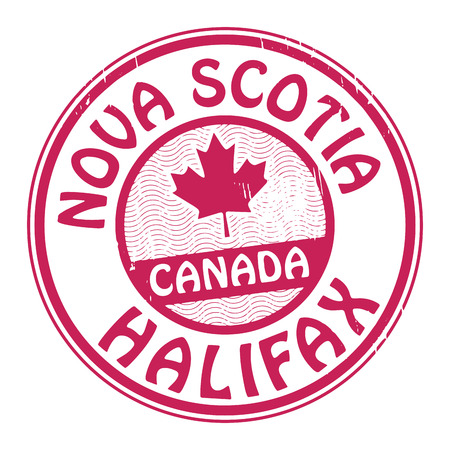 canada stamp: Stamp with name of Canada, Nova Scotia and Halifax