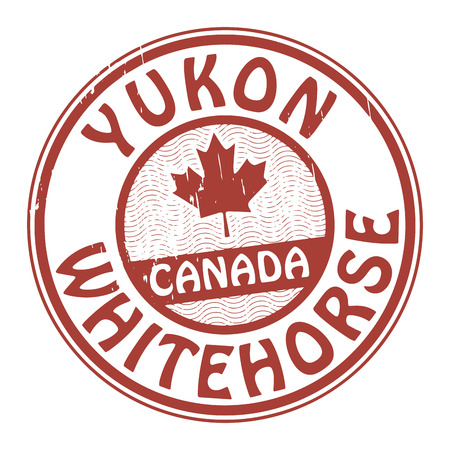 Stamp with name of Canada, Yukon and Whitehorse Vector