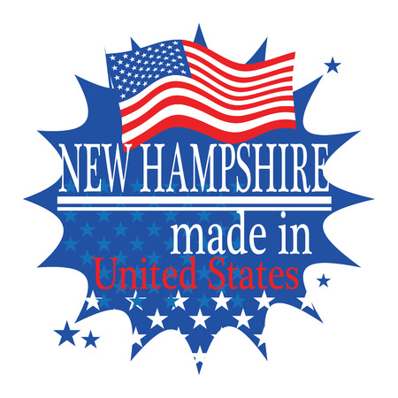 Label with flag and text Made in New Hampshire Vector