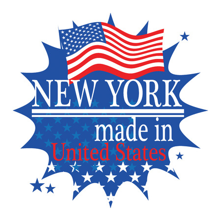 Label with flag and text Made in New York Vector