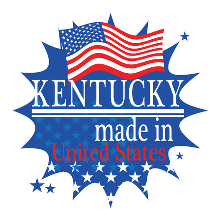 Label with flag and text Made in Kentucky Vector