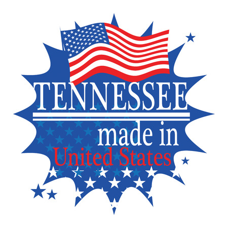Label with flag and text Made in Tennessee Vector