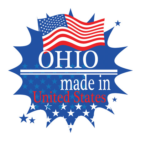 Label with flag and text Made in Ohio Vector