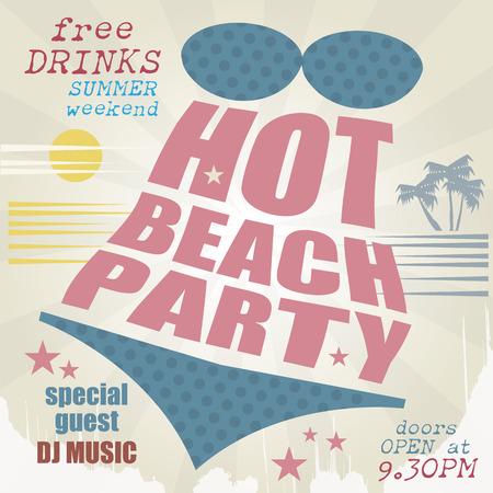 beach party: Retro beach party poster
