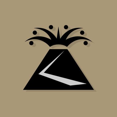 ausbrechen: Volcano Symbol oder Zeichen Illustration
