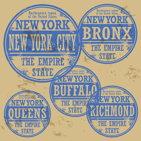 Grunge rubber stamp set with names of New York cities Vector