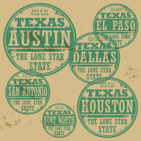Grunge rubber stamp set with names of Texas cities Vector