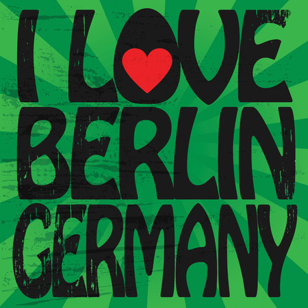 Label with text I love Berlin, Germany Vector