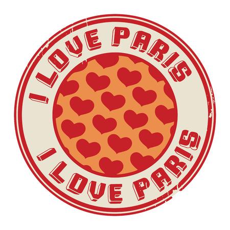 i love paris: Stamp with text I love Paris