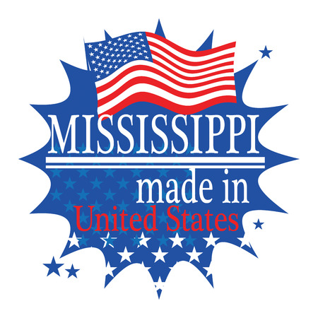 mississippi: Label with flag and text Made in Mississippi