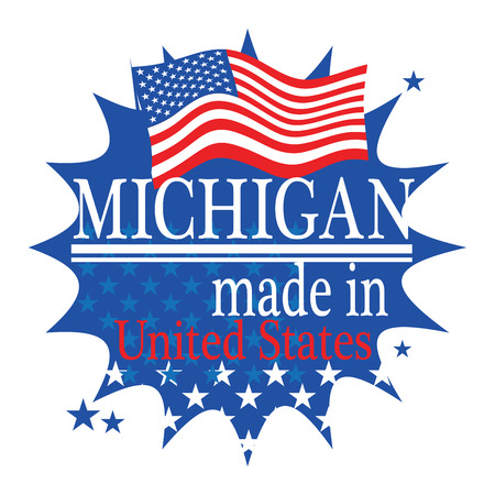 made in: Label with flag and text Made in Michigan