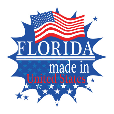 jacksonville: Label with flag and text Made in Florida Illustration
