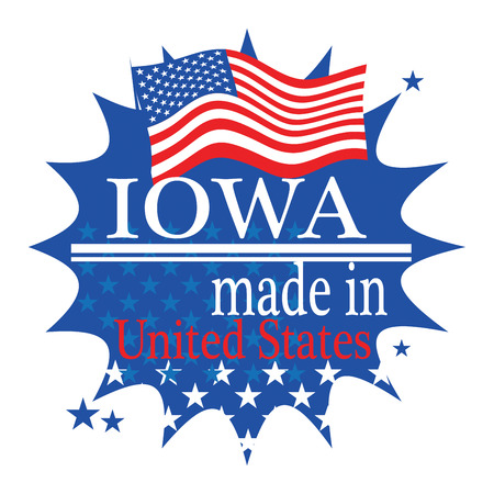 Label with flag and text Made in Iowa Vector