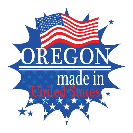 Label with flag and text Made in Oregon Vector