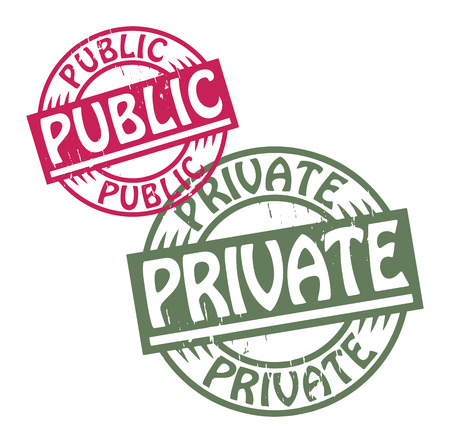 public private: Abstract grunge rubber stamp set with the text Public - Private written inside the stamp