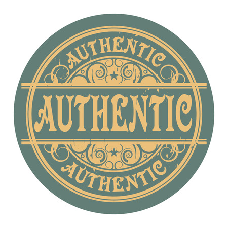authenticity: Grunge rubber gold stamp with the word Authentic written inside the stamp Illustration