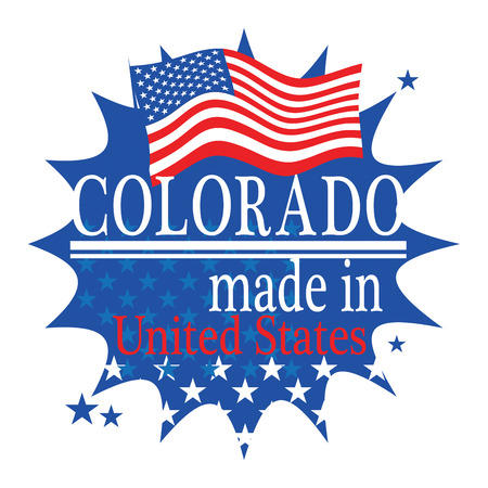 denver colorado: Label with flag and text Made in Colorado