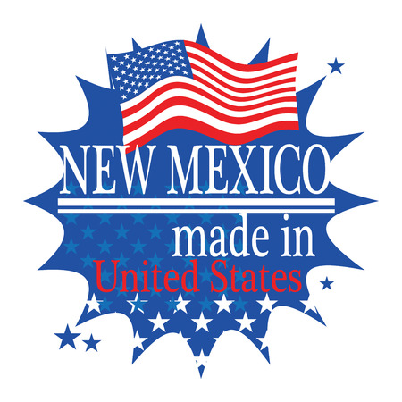Label with flag and text Made in new Mexico Vector