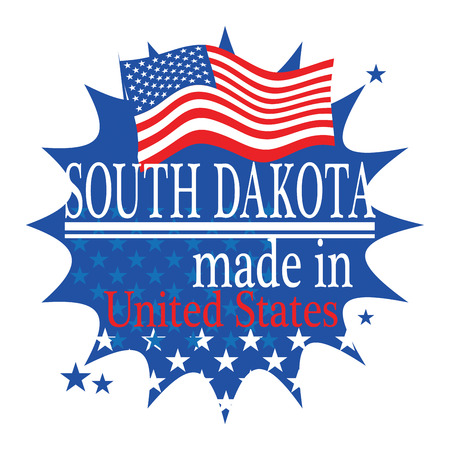 Label with flag and text Made in South Dakota Vector