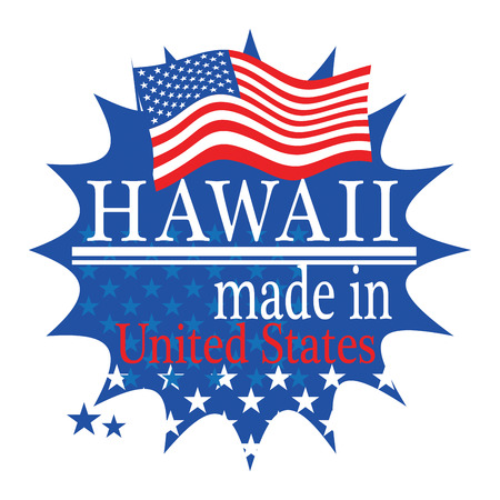 hawaii flag: Label with flag and text Made in Hawaii