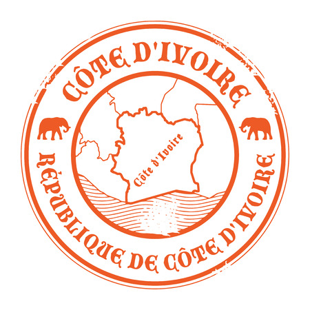 ivory: Grunge rubber stamp with the name and map of Ivory Coast