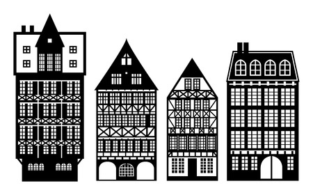 Old German houses set Vector