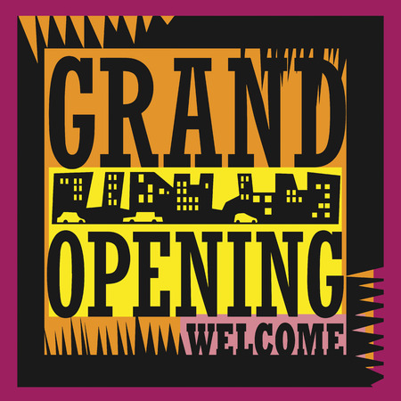 grand sale icon: Abstract Grand Opening sign