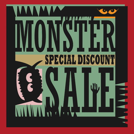 Abstract Monster Sale sign Vector