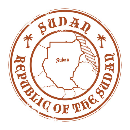sudan: Grunge rubber stamp with the name and map of Sudan