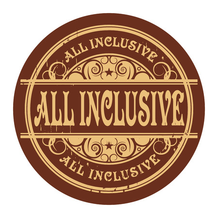 inclusive: Grunge rubber gold stamp with the words All Inclusive written inside the stamp