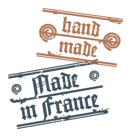 Grunge rubber stamp with small stars and the words Hand Made, Made in France inside Vector