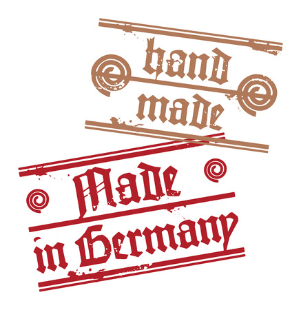 Grunge rubber stamp with small stars and the words Hand Made, Made in Germany inside Vector
