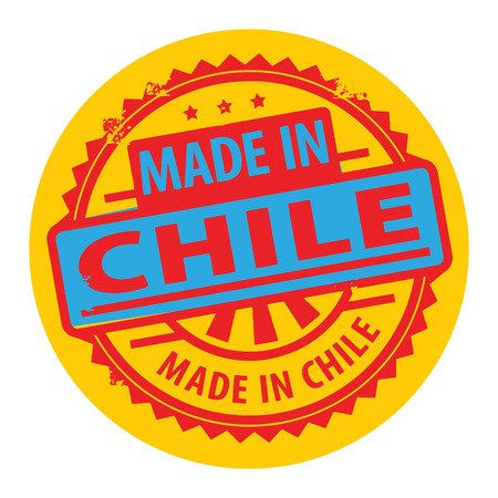santiago: Abstract grunge rubber stamp with the text Made in Chile written inside the stamp