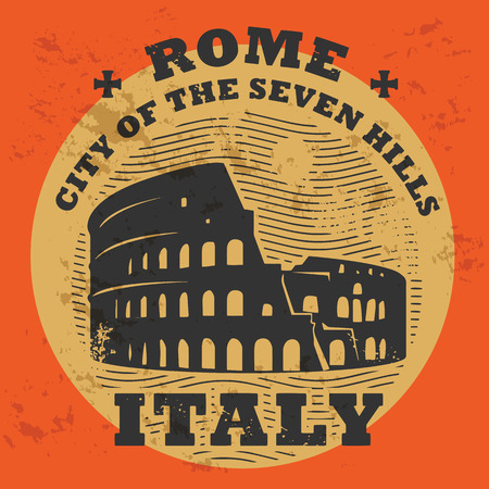 rome italy: Stamp set with text Rome, Italy inside Illustration