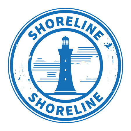 Stamp or label with Lighthouse silhouette and text Shoreline Vector