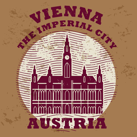 Grunge rubber stamp with words Vienna, Austria inside Vector