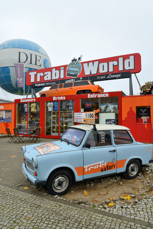 BERLIN - NOVEMBER 23  Trabant museum and also renting a car for a Trabant safari near Checkpoint Charlie on November 23, 2013 in Berlin, Germany
