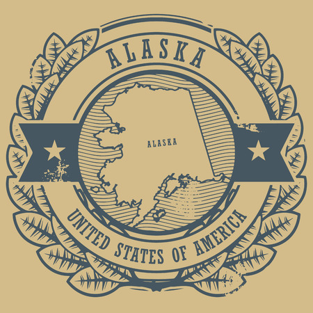 Grunge rubber stamp with name and map of Alaska, USA Vector