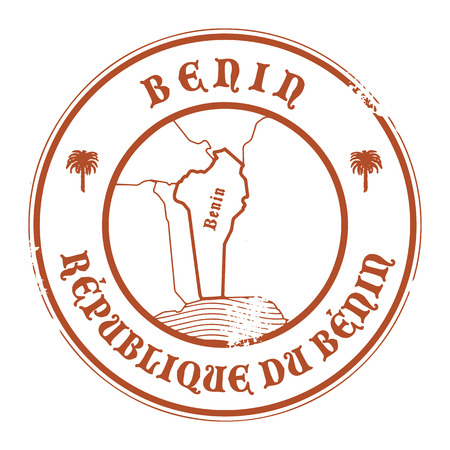 Grunge rubber stamp with the name and map of Benin