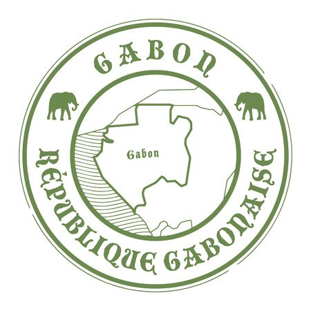 gabon: Grunge rubber stamp with the name and map of Gabon